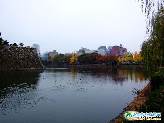 日本大阪城护城河图片――日本旅游景点图片