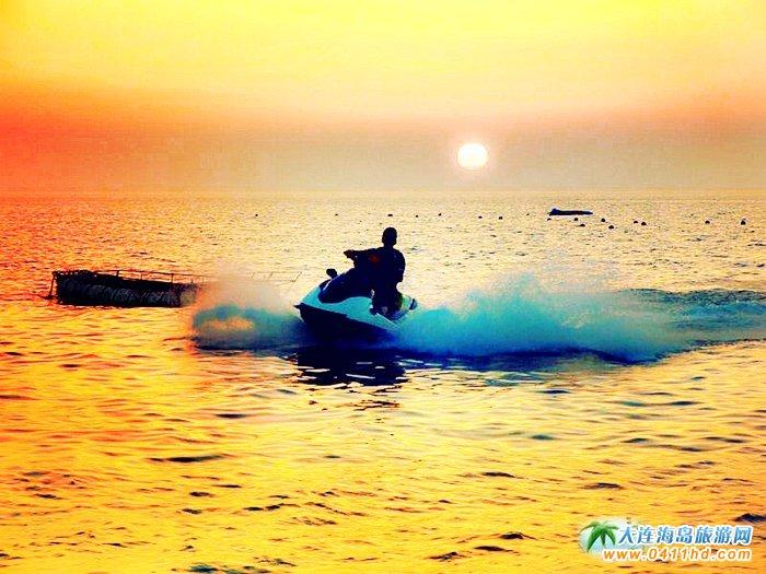 大连西中岛图片-夕阳,激情,游艇1