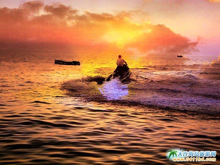 大连西中岛图片-夕阳,激情,游艇4